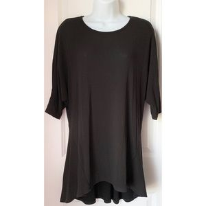 Anthro Three Dot Black 1/2 Sleeve Hi Low Tunic Top